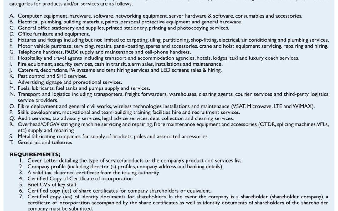 Liquid Telecom Supplier Database registration